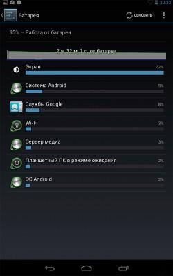 Работа от батареи Google Nexus 7