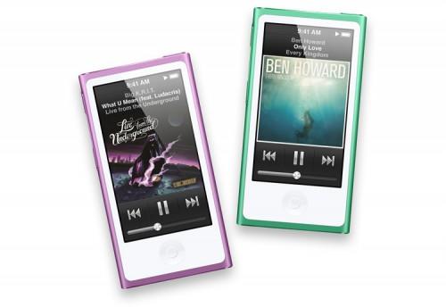Пурпурный и зеленый Apple iPod nano нового поколения