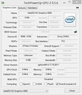 Sony VAIO Duo 11 GPU-Z